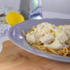 Spaghetti met kipfilet in citroen-roomsaus