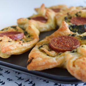 Spinazietaartjes met salami