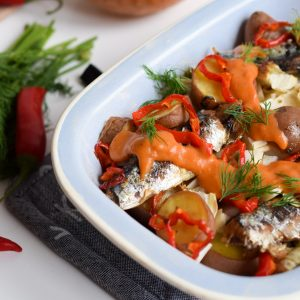 Sardines met venkel en rode pepersaus