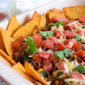 nachos met gehakt en groenten